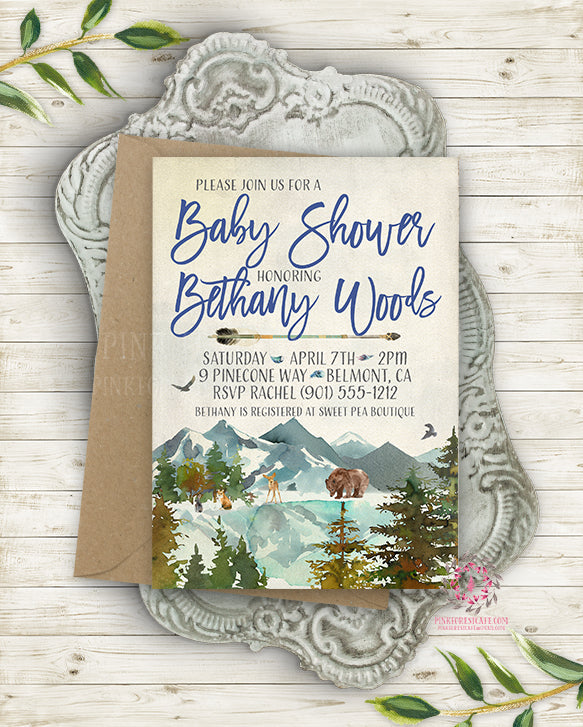 Woodland Invite Invitation Invite Baby Shower Birthday Party Deer Bear Fox Watercolor Feathers Arrow Rustic Printable
