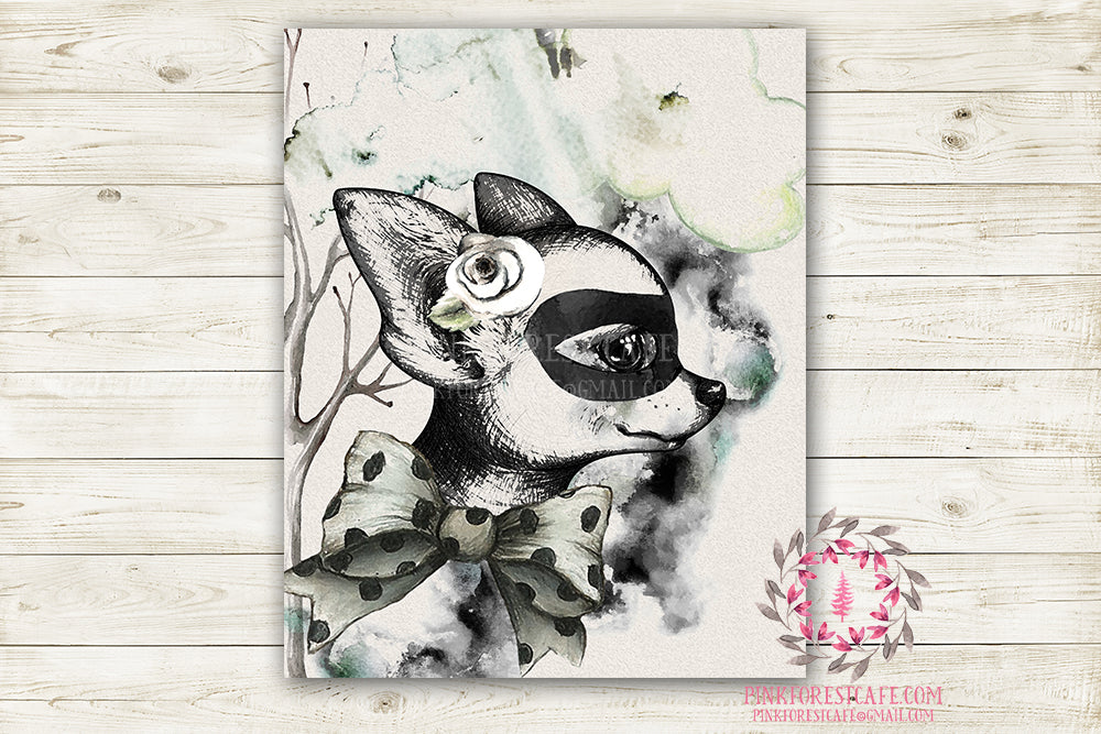 "Superhero Masked Ethereal Boho Nursery Wall Art Print Baby Boy Girl Woodland Rustic ""Miss Penelope"" Printable Watercolor Mystery Fantasy Magical Decor"