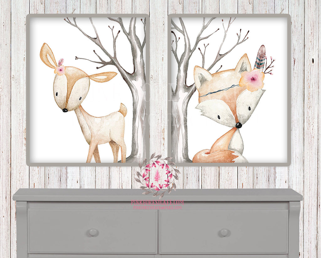 2 Deer Fox Printable Print Wall Art Woodland Boho Bohemian Floral Nursery Baby Girl Bedroom Set Lot Prints Decor TPC