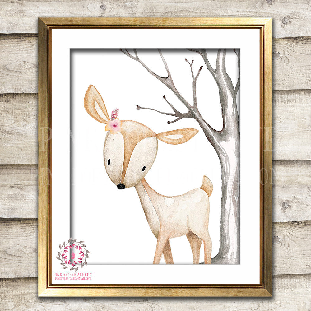 Boho Deer Nursery Wall Art Print Decor Woodland Boho Tribal Printable Prints Watercolor Flowers Floral Bohemian Baby Girl Room Kids Bedroom