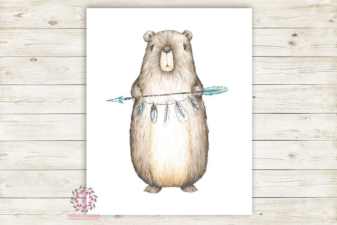 Bear Tribal Arrow Feathers Woodland Wall Art Print Baby Boy Nursery Rustic Printable Decor