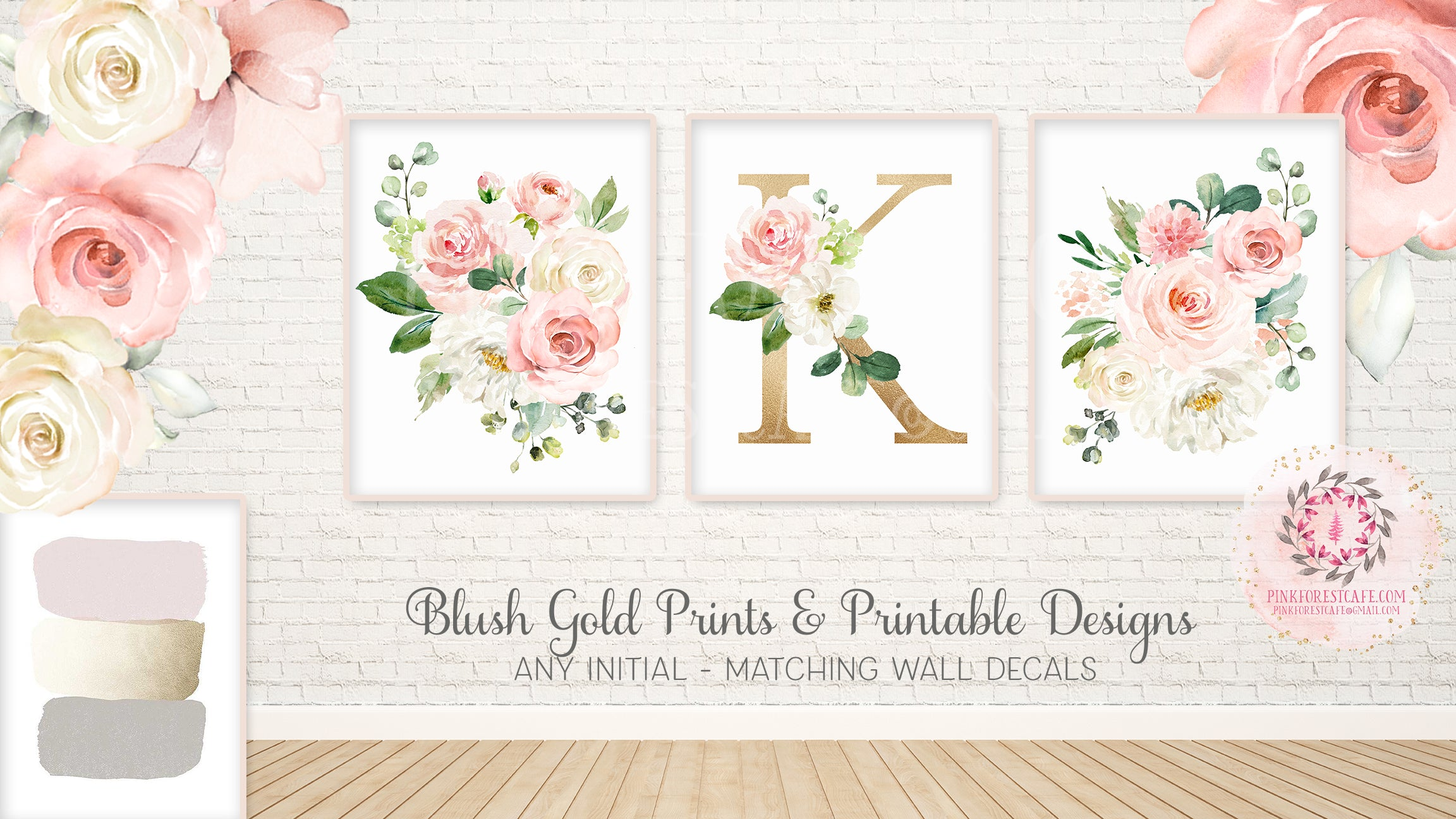 3 Boho Floral Blush Gold Wall Art Print Cream Pink Watercolor Baby Girl Nursery Printable Decor