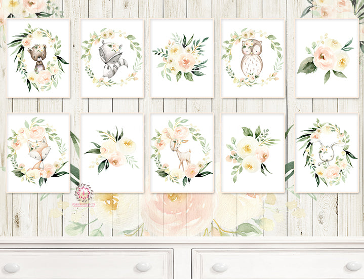 10 Deer Bunny Rabbit Wall Art Print Woodland Boho Blush Cream Ivory Pink Bohemian Floral Nursery Baby Girl Room Set Lot Prints Printable Home Decor