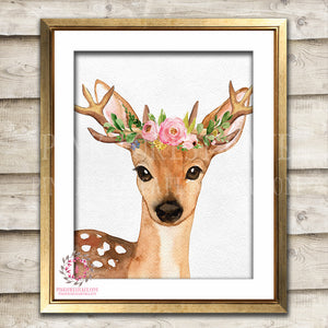 Boho Bohemian Watercolor Deer Antlers Woodland Printable Wall Art Print Garden Floral Nursery Baby Girl Room Decor