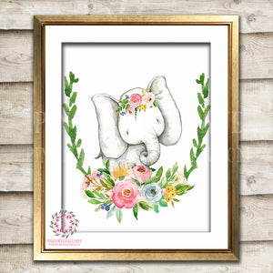 Elephant Boho Watercolor Print Printable Wall Art Bohemian Zoo Animal Safari Nursery Kids Baby Room Home Decor