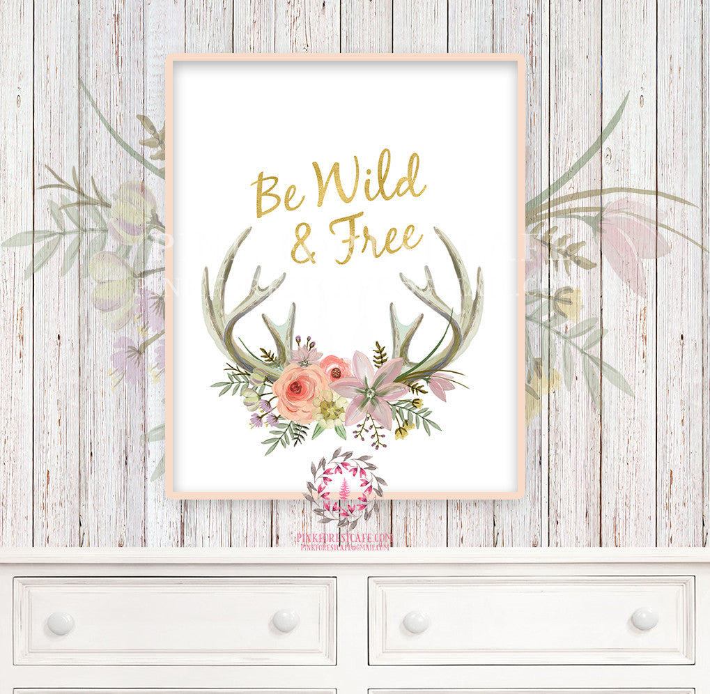 Boho Nursery Print Wall Art Watercolor Antlers Tribal Woodland Rustic Baby Girl Room Printable Bohemian Decor