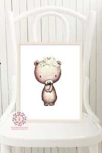 Boho Bear Blush Printable Print Wall Art  Woodland Nursery Baby Girl Room Bohemian Floral Decor