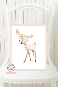 Boho Deer Blush Printable Print Wall Art Woodland Nursery Baby Girl Room Bohemian Floral Decor