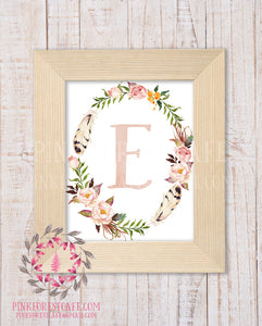 Baby Monogram Initial Personalized Gift Watercolor Woodland Boho Watercolor Floral Rustic Nursery Decor Printable Wall Art