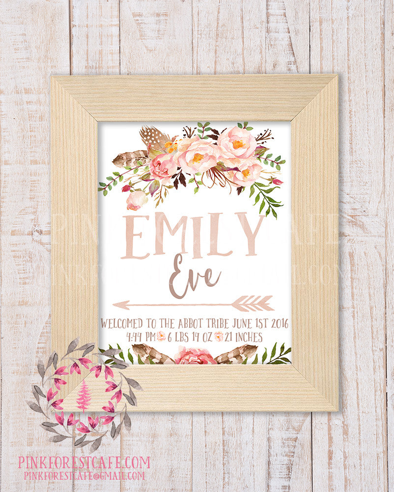 Baby Name Birth Stats Announcement Personalized Gift Watercolor Woodland Boho Watercolor Floral Rustic Nursery Decor Printable Wall Art