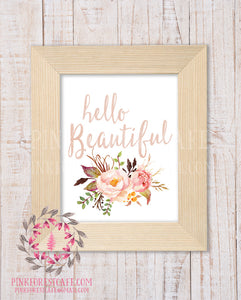 Boho Blush Hello Beautiful Watercolor Woodland Floral Tribal Baby Girl Nursery Home Decor Printable Wall Art