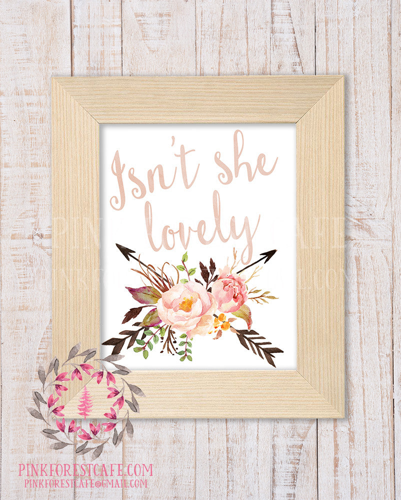 Boho Blush Isn't She Lovely Wall Art Print Watercolor Baby Girl Nursery Printable Floral Tribal Home Decor