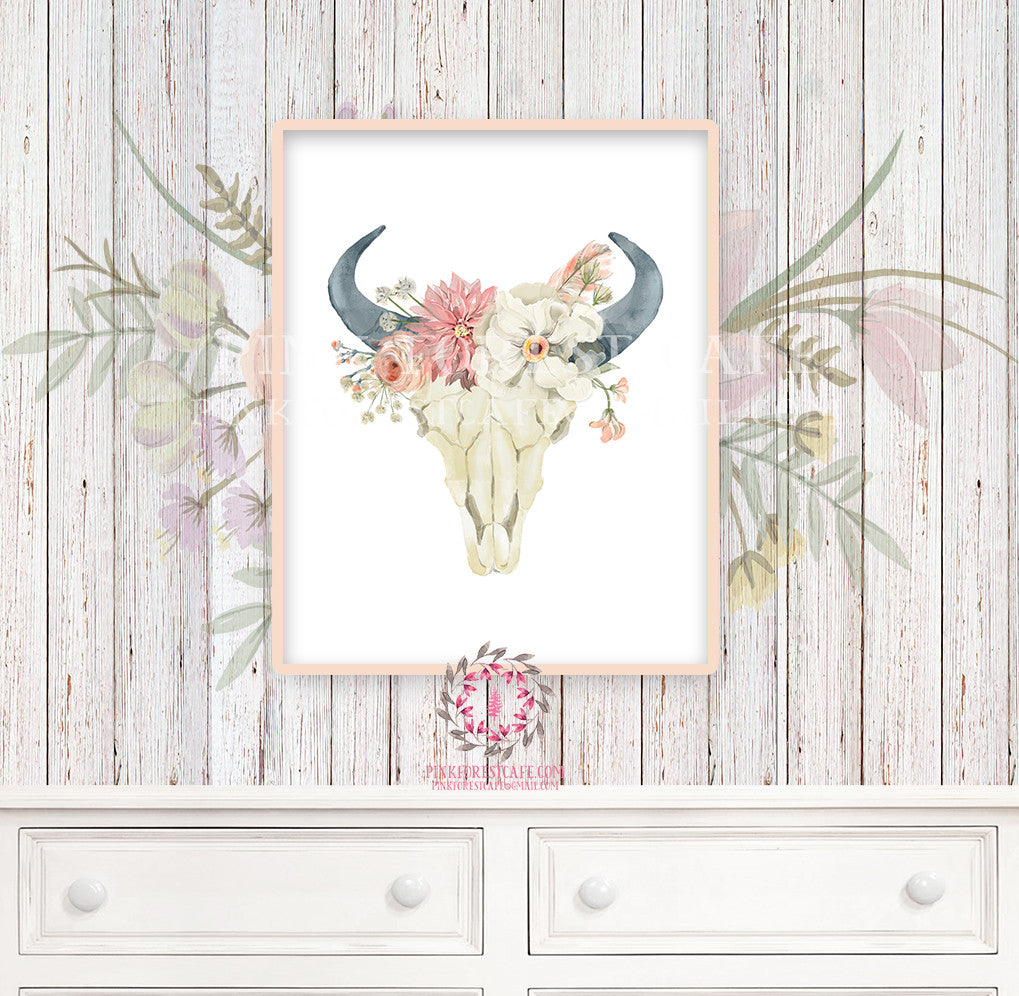 Boho Nursery Print Wall Art Watercolor Bull Skull Floral Tribal Woodland Rustic Baby Girl Room Printable Bohemian Decor