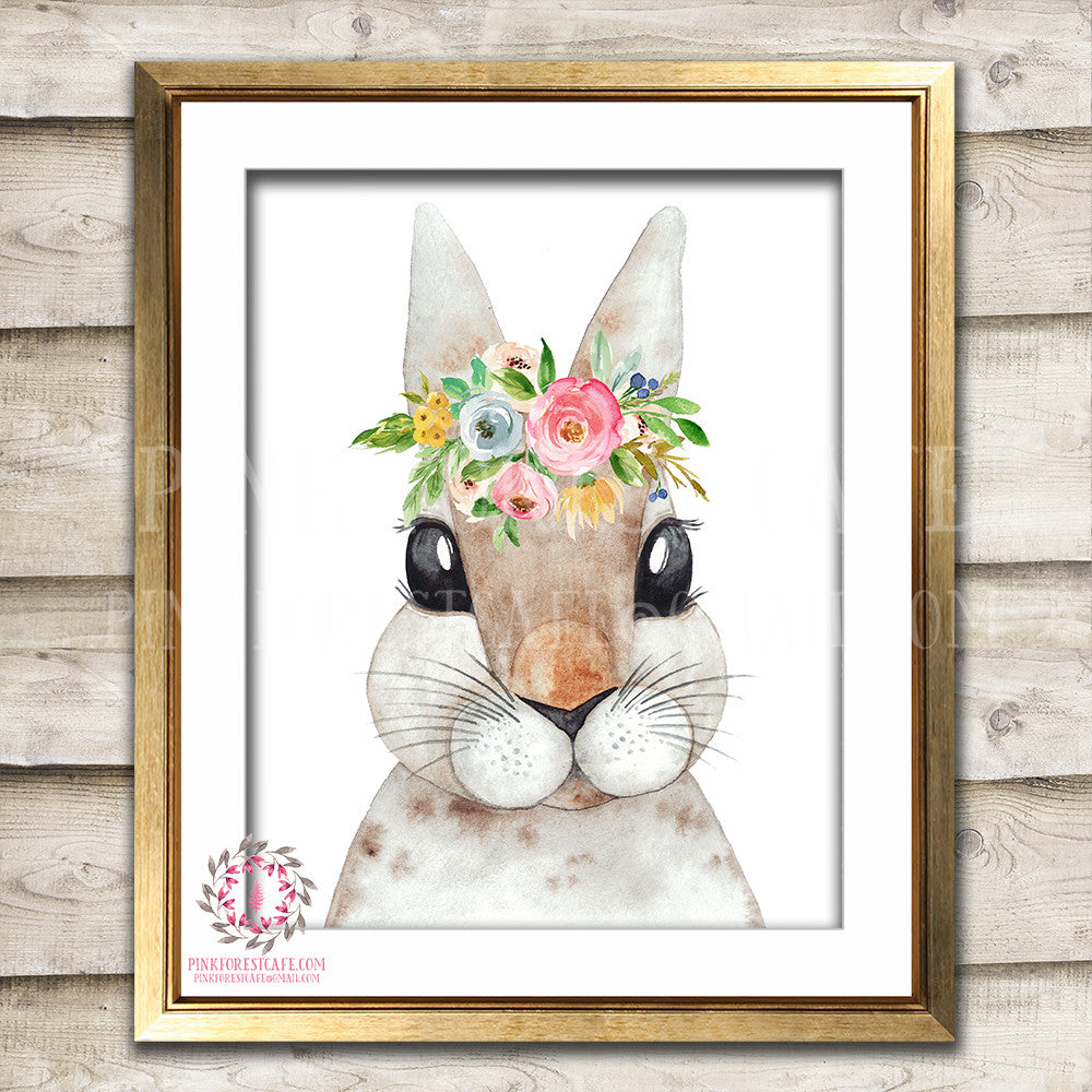 Boho Bohemian Watercolor Bunny Rabbit Woodland Printable Wall Art Print Garden Floral Nursery Baby Girl Room Decor