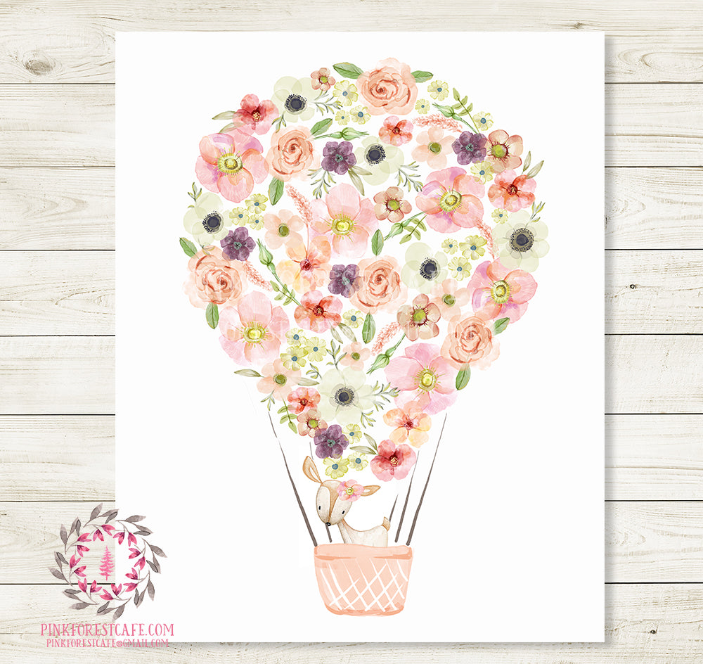Boho Deer Hot Air Balloon Wall Art Print Nursery Baby Girl Room Watercolor Floral Woodland Bohemian Printable Decor