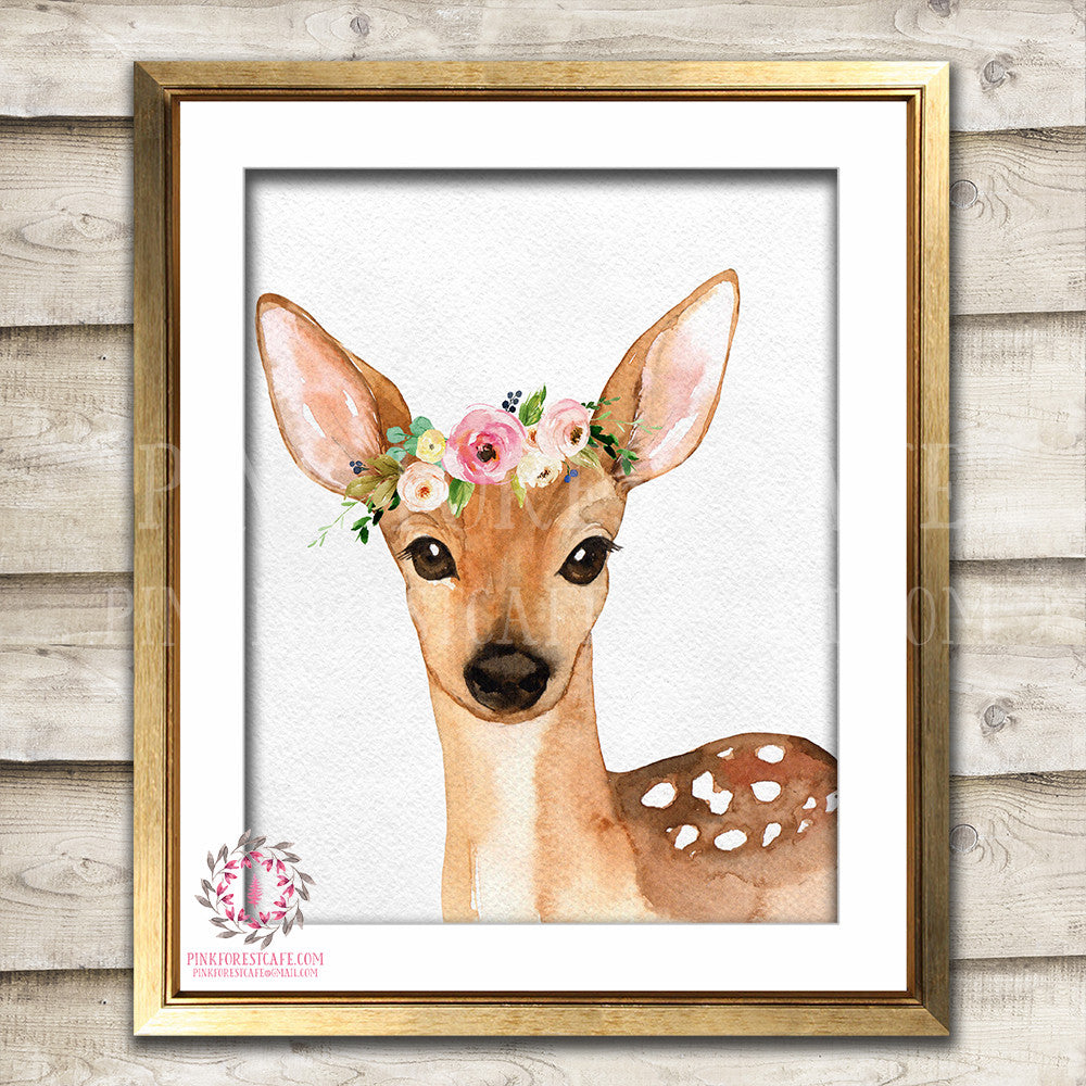 Boho Bohemian Watercolor Deer Woodland Printable Wall Art Print Garden Floral Nursery Baby Girl Room Decor