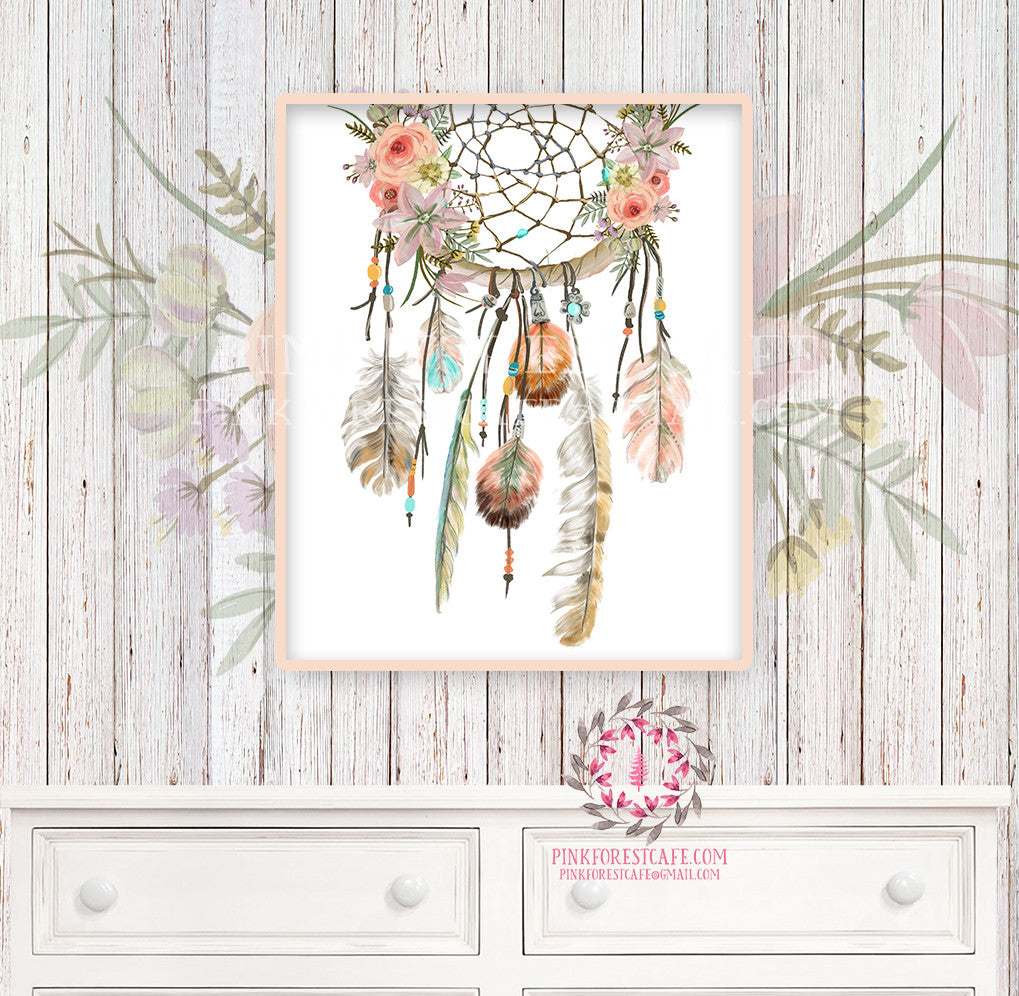 Boho Dreamcatcher Nursery Print Wall Art Watercolor Floral Feather Tribal Woodland Rustic Baby Girl Room Printable Bohemian Decor