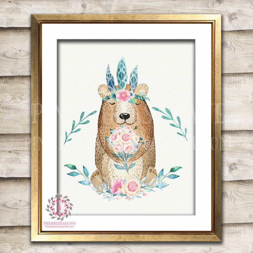 Boho Bear Printable Print Wall Art Bohemian Floral Feather Woodland Nursery Baby Girl Room Decor