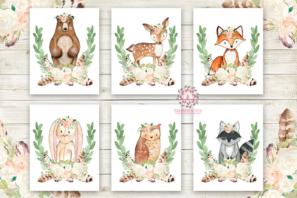Boho Bear Deer Fox Bunny Rabbit Wall Art Print Woodland Raccoon Owl Boho Bohemian Feather Floral Nursery Baby Girl Room Set Lot 6 Prints Printable Decor