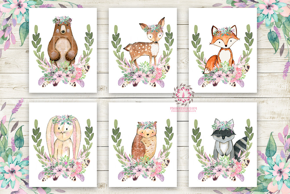 Boho Bear Deer Fox Bunny Rabbit Wall Art Print Woodland Purple Mint Raccoon Owl Boho Bohemian Feather Floral Nursery Baby Girl Room Set Lot 6 Prints Printable Decor