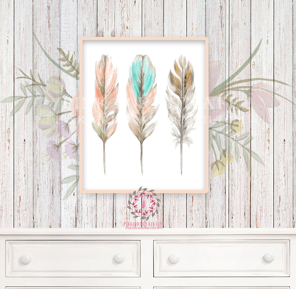 Boho Feather Nursery Print Wall Art Watercolor 3 Feathers Tribal Woodland Rustic Baby Girl Room Printable Bohemian Decor