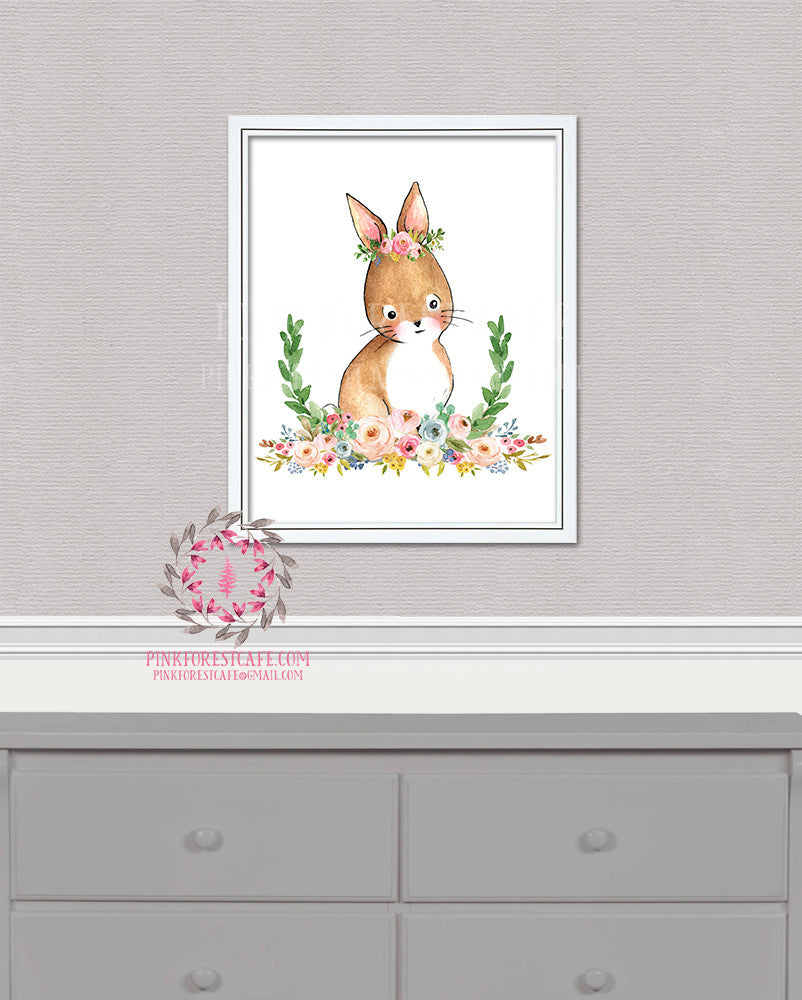Bunny Rabbit Woodland Boho Bohemian Garden Floral Nursery Baby Girl Room Printable Print Wall Decor