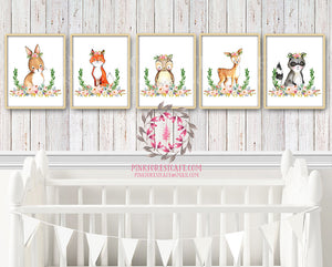 SALE 5 Woodland Boho Wall Art Print Deer Bunny Bear Fox Raccoon Bohemian Garden Floral Nursery Baby Girl Room Set Lot Playroom Prints Printable Decor
