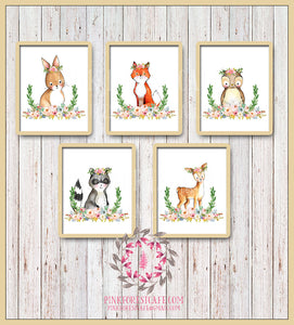 Bunny Fox Owl Raccoon Deer Woodland Boho Bohemian Floral Nursery Baby Girl Room Playroom Set Lot 5 Prints Printable Print Wall Art Decor