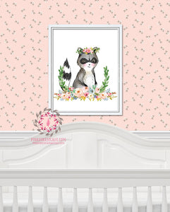 Raccoon Woodland Boho Bohemian Garden Floral Nursery Baby Girl Room Printable Print Wall Decor
