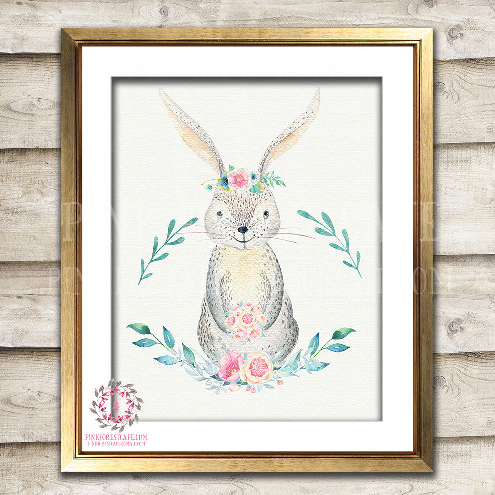 Boho Bunny Rabbit Printable Print Wall Art Bohemian Floral Feather Woodland Nursery Baby Girl Room Decor