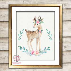 Boho Deer Printable Print Wall Art Bohemian Floral Woodland Nursery Baby Girl Room Decor