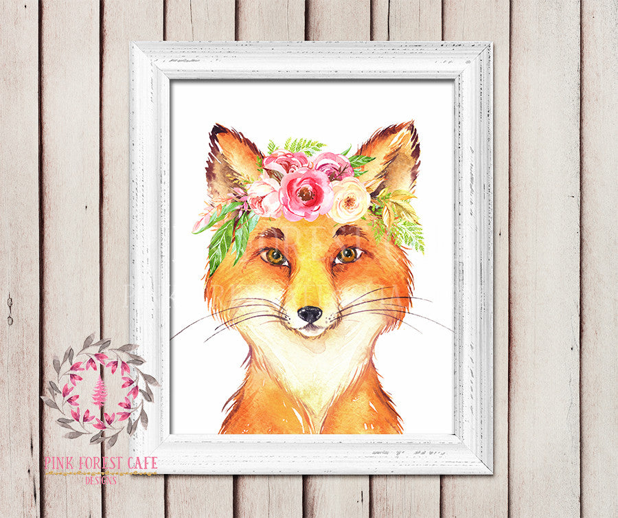 Fox Boho Watercolor Floral Baby Girl Room Woodland Rustic Nursery Printable Wall Poster Sign Art Stationery Card Baby Shower Room Home Decor