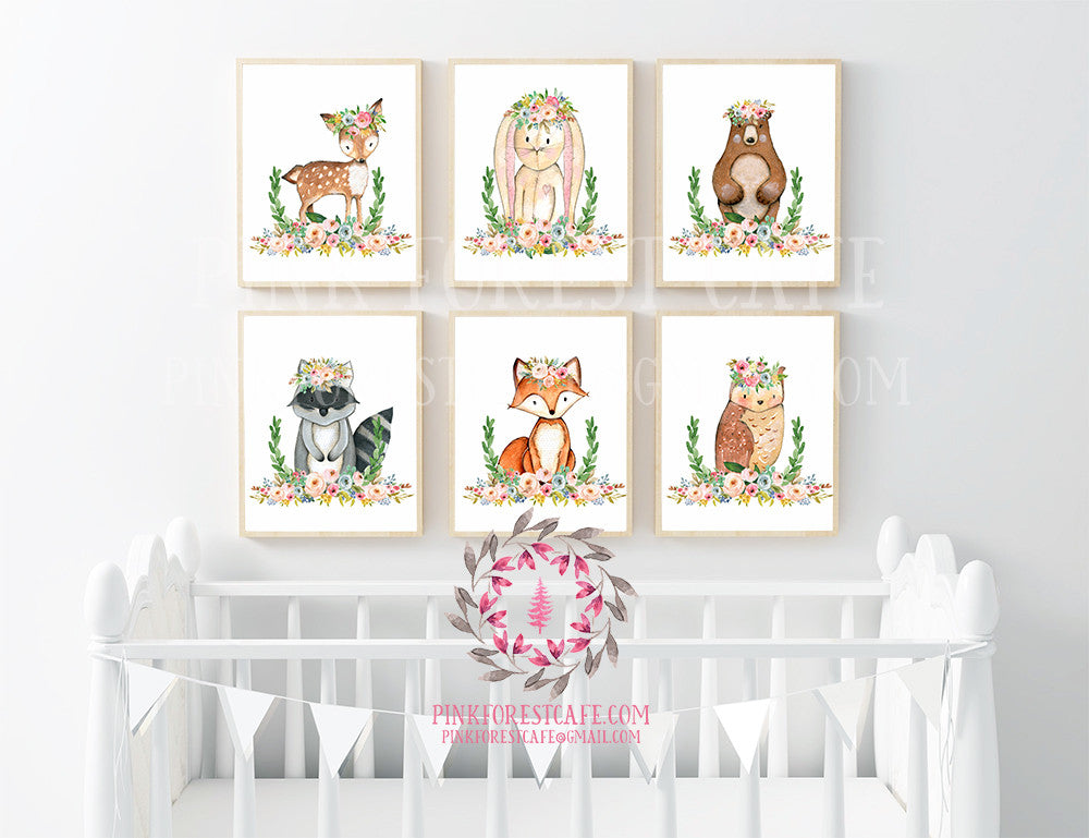 Bunny Bear Deer Fox Nursery Woodland Boho Prints Bohemian Garden Blush Floral Baby Room Raccoon Owl Wall Art Home Decor Print Set Of 6