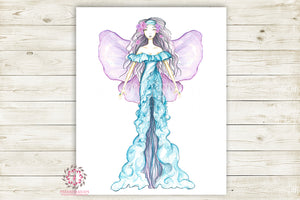 Boho Gypsy Fairy Princess Nursery Wall Art Print Ethereal Angel Wings Printable Watercolor Mystery Fantasy Magical Decor