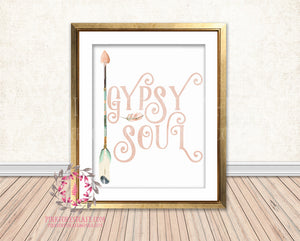 Gypsy Soul Blush Boho Tribal Arrow Nursery Baby Girl Room Printable Print Wall Decor
