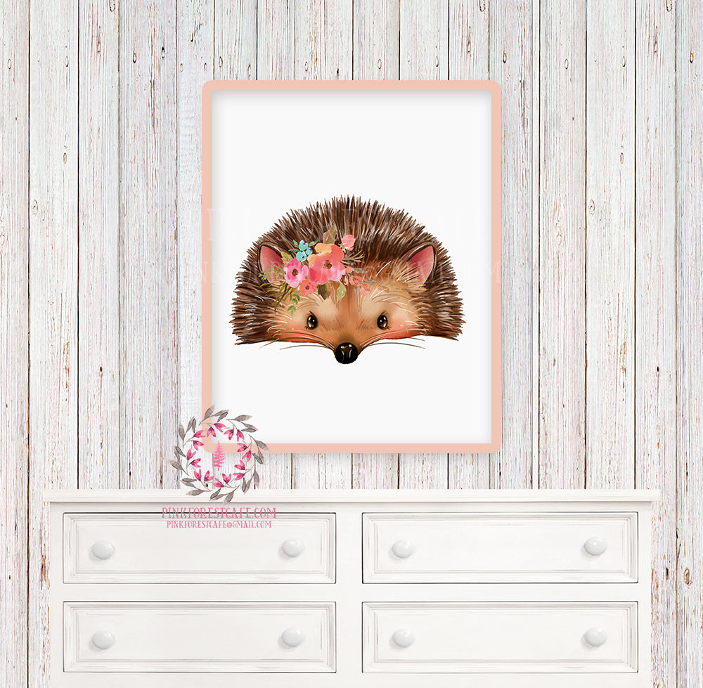 Boho Hedgehog Woodland Printable Print Wall Art Nursery Baby Girl Bohemian Floral Room Decor