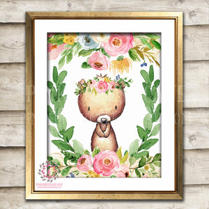 Boho Bohemian Bear Woodland Watercolor Printable Wall Art Print Garden Floral Nursery Baby Girl Room Decor