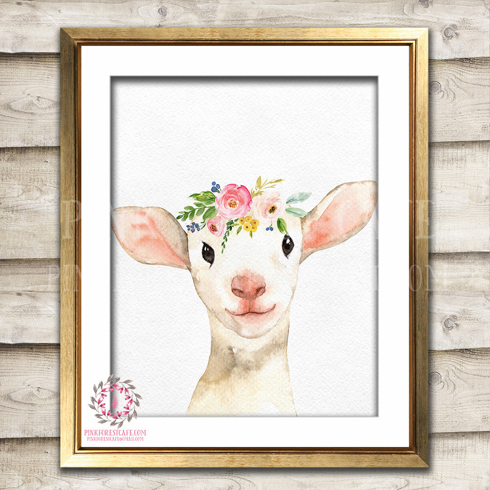 Boho Lamb Sheep Wall Art Print Farm Animal Zoo Floral Nursery Baby Girl Room Watercolor Printable Decor