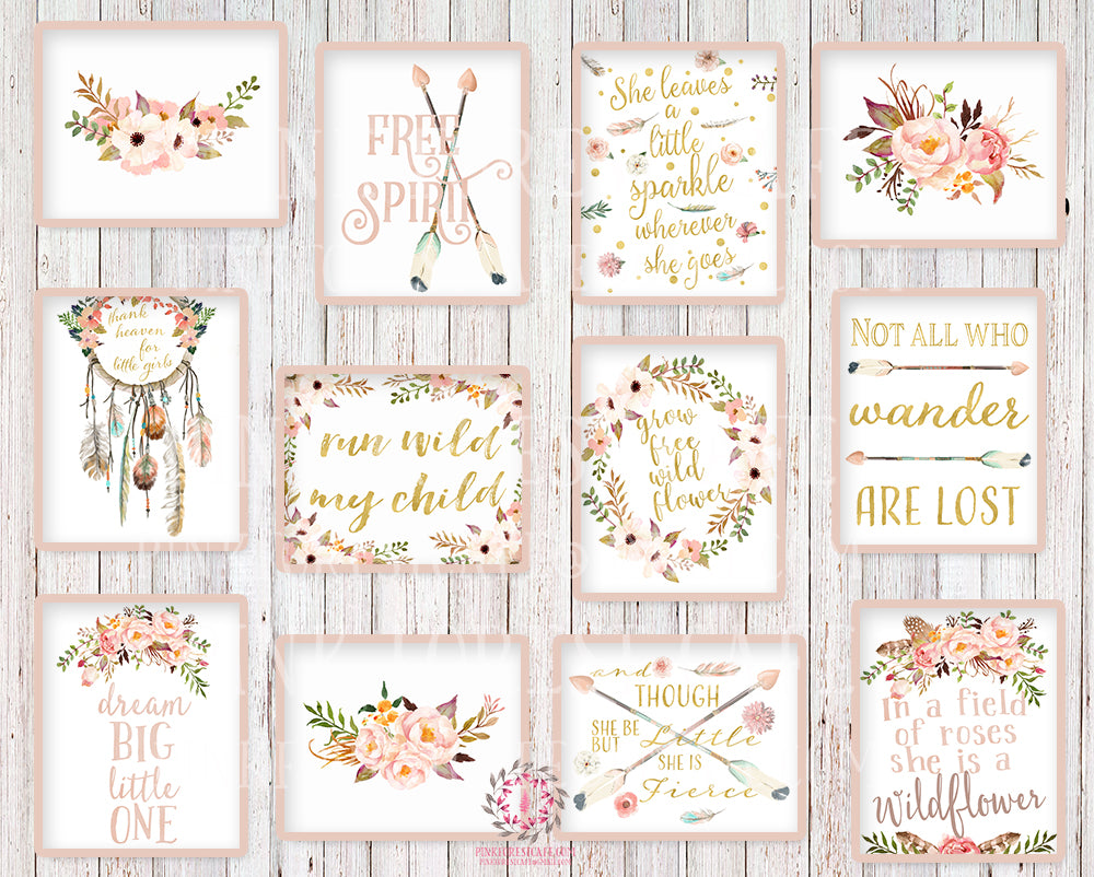Lot of 12 Boho Wall Art Prints She Is Fierce Nursery Baby Girl Room Set Prints Printable Bohemian Print Woodland Home Decor