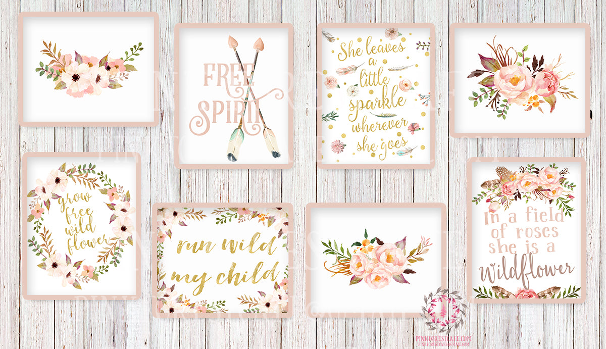Lot of 8 Boho Wall Art Prints Woodland Nursery Baby Girl Room Set Prints Printable Run Wild My Child She Is A Wildflower Bohemian Print Woodland Home Decor