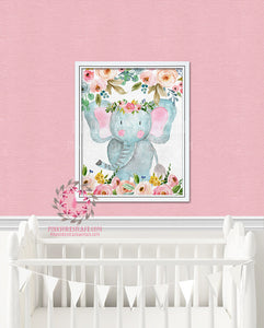 Boho Elephant Nursery Wall Art Print Decor Woodland Boho Printable Prints Watercolor Flowers Floral Bohemian Baby Girl Room Kids Bedroom