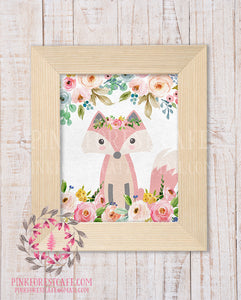 Boho Floral Fox Woodland Printable Print Wall Art Watercolor Baby Nursery Home Decor