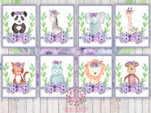 50% OFF 8 ZOO Monkey Giraffe Lion Elephant Tiger Panda Bear Zebra Hippo Prints Printable Wall Art Safari Boho Bohemian Purple Floral Nursery Kids Baby Room Set Lot