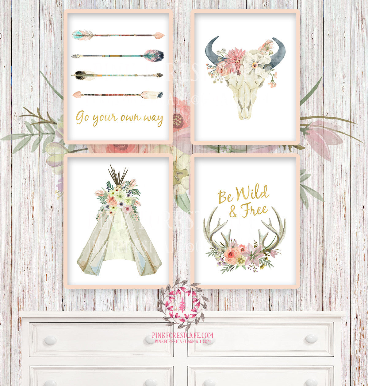 Boho Nursery Print Wall Art Set of 4 Go Your Own Way Teepee Wild Free Arrow Watercolor Gold Floral Baby Girl Room Prints Printable Bohemian Decor