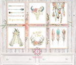 Boho Nursery Print Wall Art Set of 6 Teepee Antlers Dreamcatcher Feathers Wild Free Arrow Watercolor Gold Floral Baby Girl Room Prints Printable Bohemian Decor