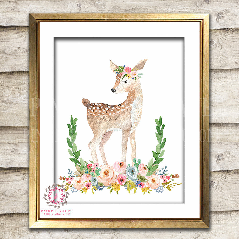 Deer Woodland Boho Print Printable Wall Art Bohemian Garden Floral Nursery Baby Girl Room Playroom Decor