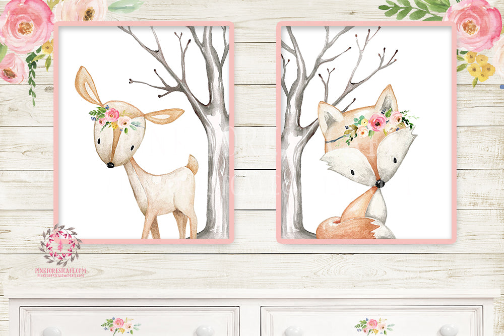 2 Deer Fox Printable Print Wall Art Woodland Boho Bohemian Nursery Baby Girl Watercolor Floral Bedroom Set Prints Decor