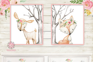 Deer Fox Nursery Woodland Boho Wall Art Prints Bohemian Floral Girls Baby Kids Room Bedroom Decor Print Set Of 2