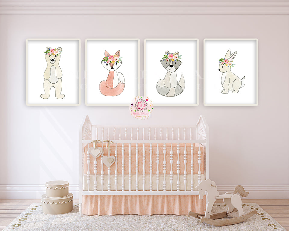 4 Woodland Boho Animals Wall Art Print Bunny Fox Bear Raccoon Watercolor Baby Girl Nursery Printable Decor