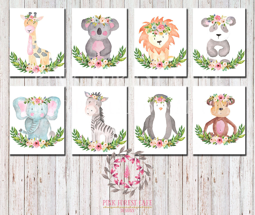 8 ZOO Monkey Giraffe Lion Elephant Safari Boho Bohemian Garden Floral Nursery Kids Baby Room Playroom Set Lot Prints Zebra Koala Penguin Panda Gift Printable Wall Poster Sign Art Home Decor